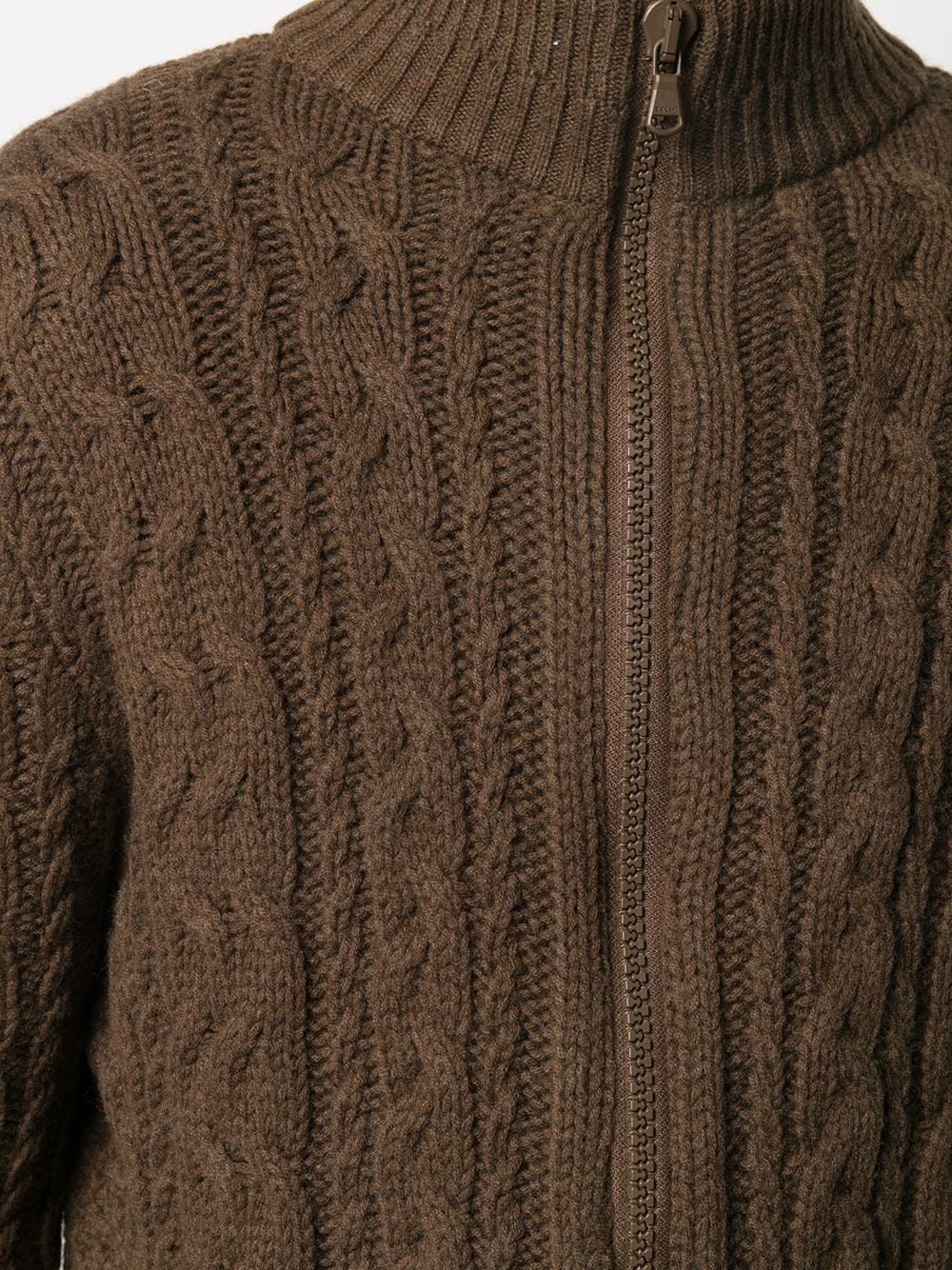 Sepia brown wool zip-through cable knit sweater   ALBERTO ASPESI |  | M352-396501223