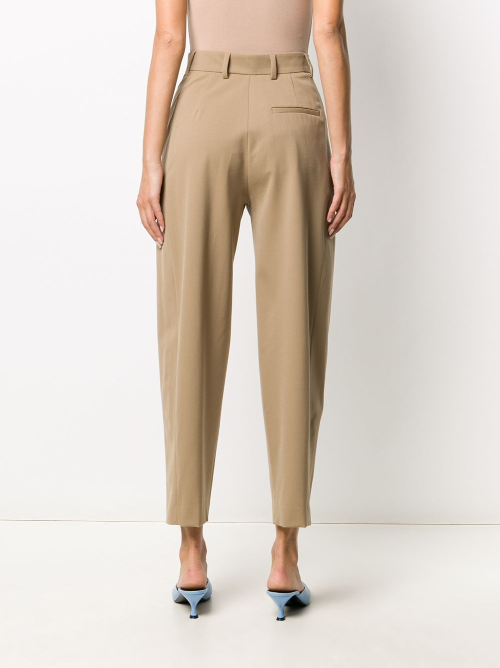 Beige stretch-virgin wool cropped tailored trousers featuring high waist ALBERTO BIANI |  | CC860-WO024114