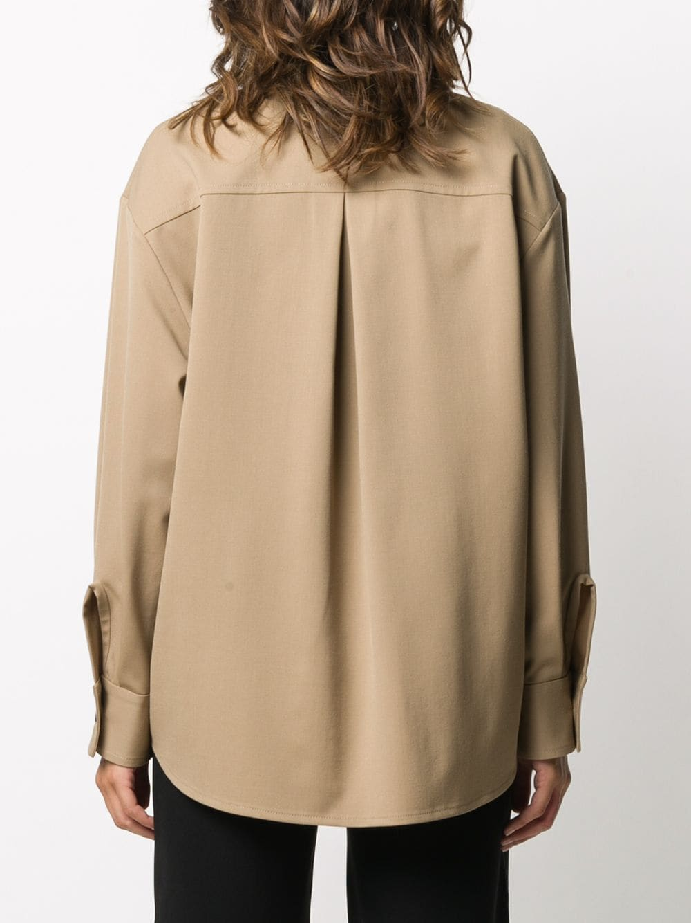 Light beige virgin wool blend oversized buttoned shirt  ALBERTO BIANI |  | MM841-WO024114