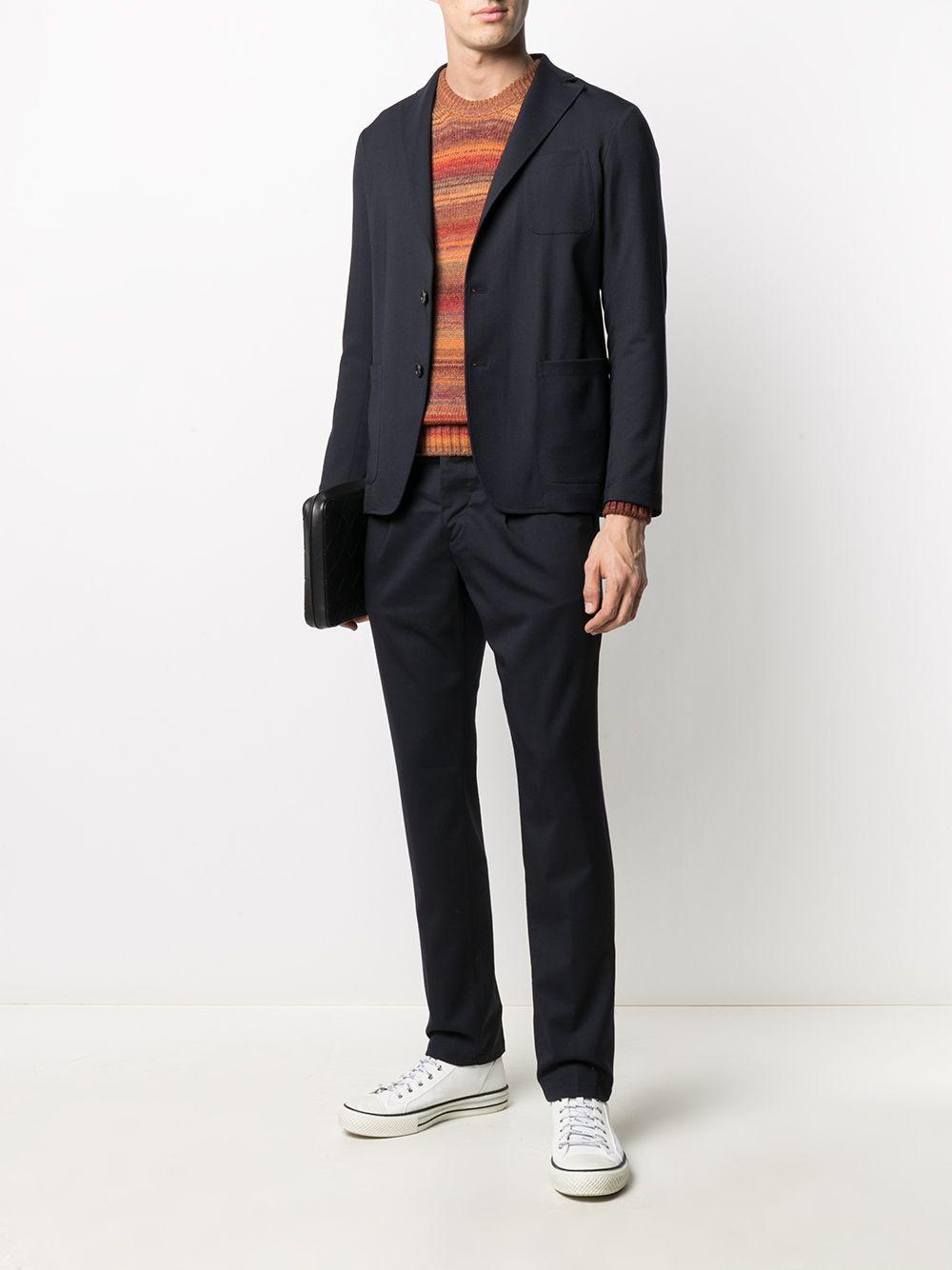 brown,orange and red virgin wool-blend crew neck stripe-ombré sweater  ALTEA |  | 206128263