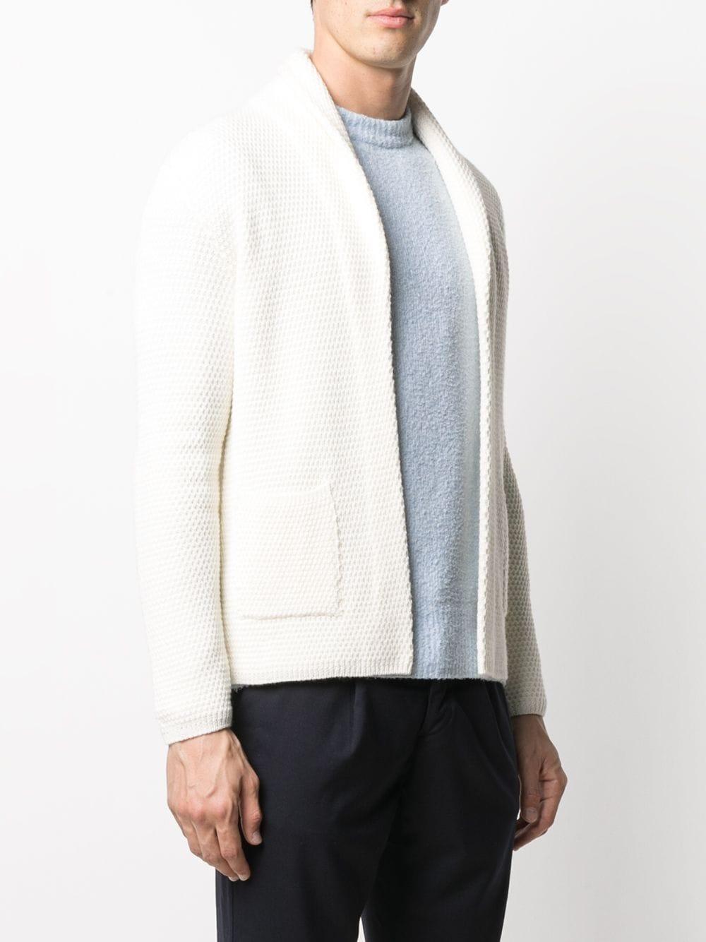 cardigan bianco con risvolto a scialle con lavorazione a nido d'ape ALTEA | Cardigan | 206129028