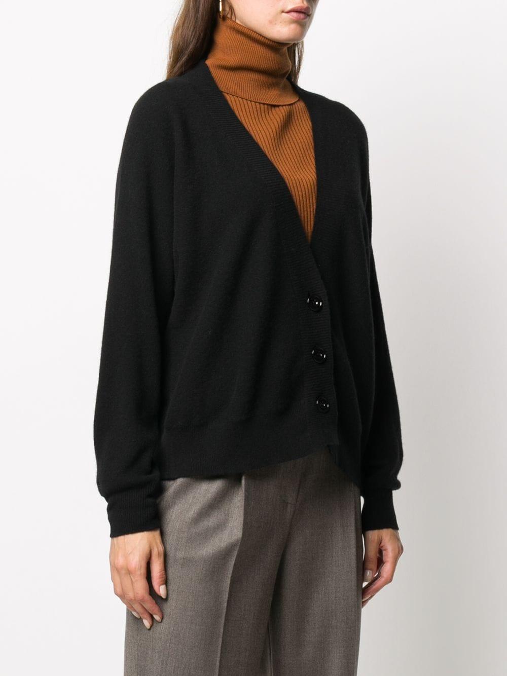 Black virgin wool and cashmere blend long-sleeve cardigan ALTEA |  | 206151490