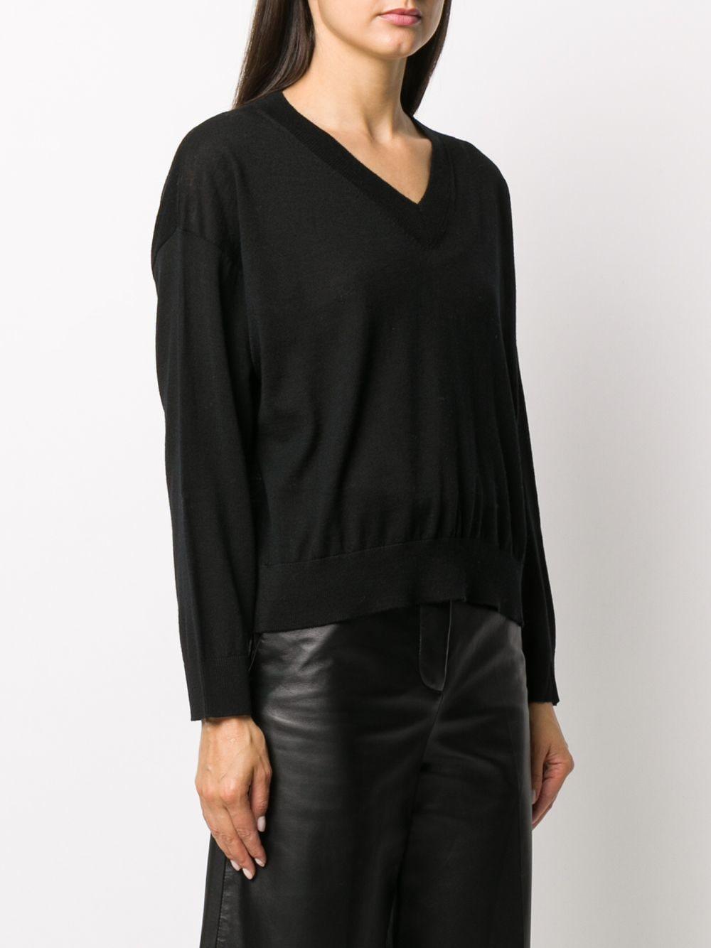 Black rib-trimmed virgin wool jumper featuring V-neck ALTEA |  | 206152790