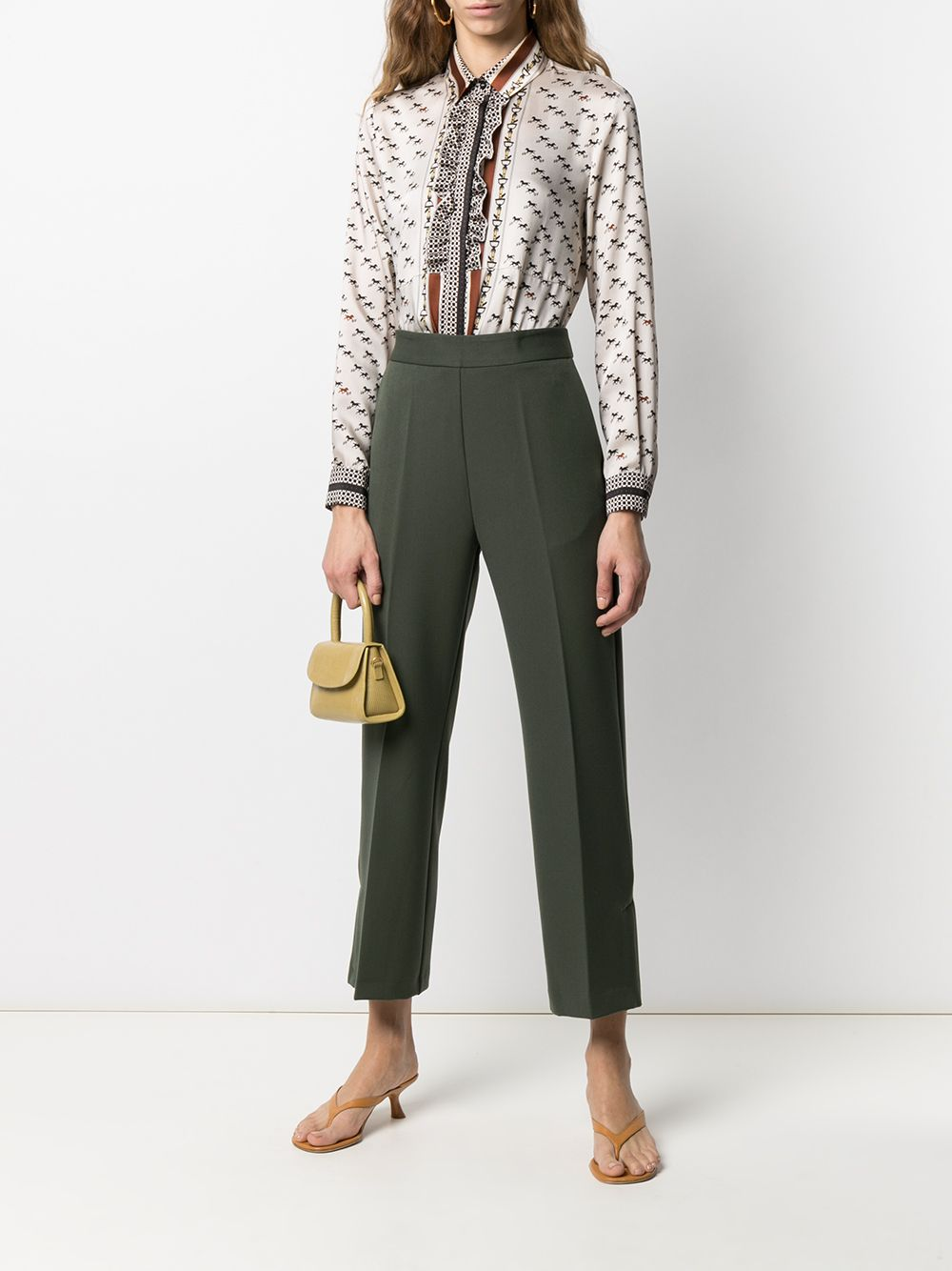 Green virgin wool cropped tailored trousers featuring high waist ALTEA |  | 206350145