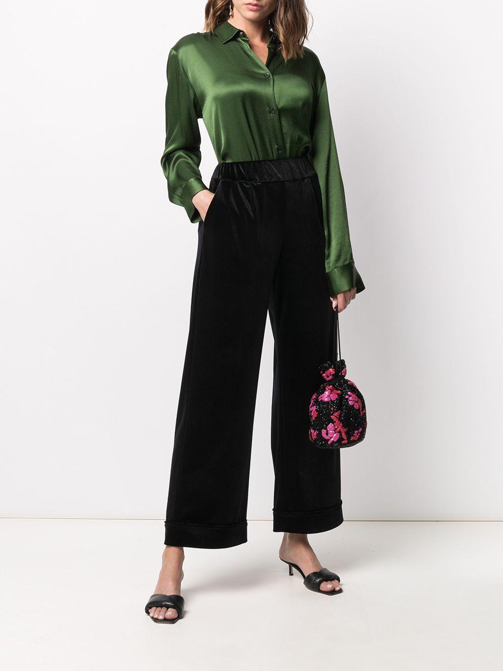 Black velvet wide-leg trousers featuring high waist ALTEA |  | 206355890
