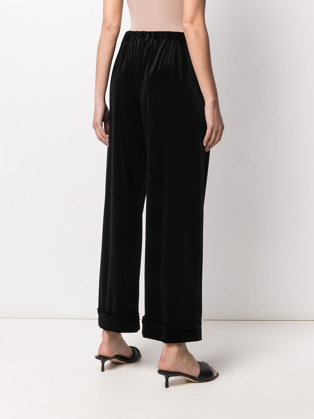 Pantaloni larghi in velluto nero con vita alta e gamba ampia ALTEA | Pantaloni | 206355890