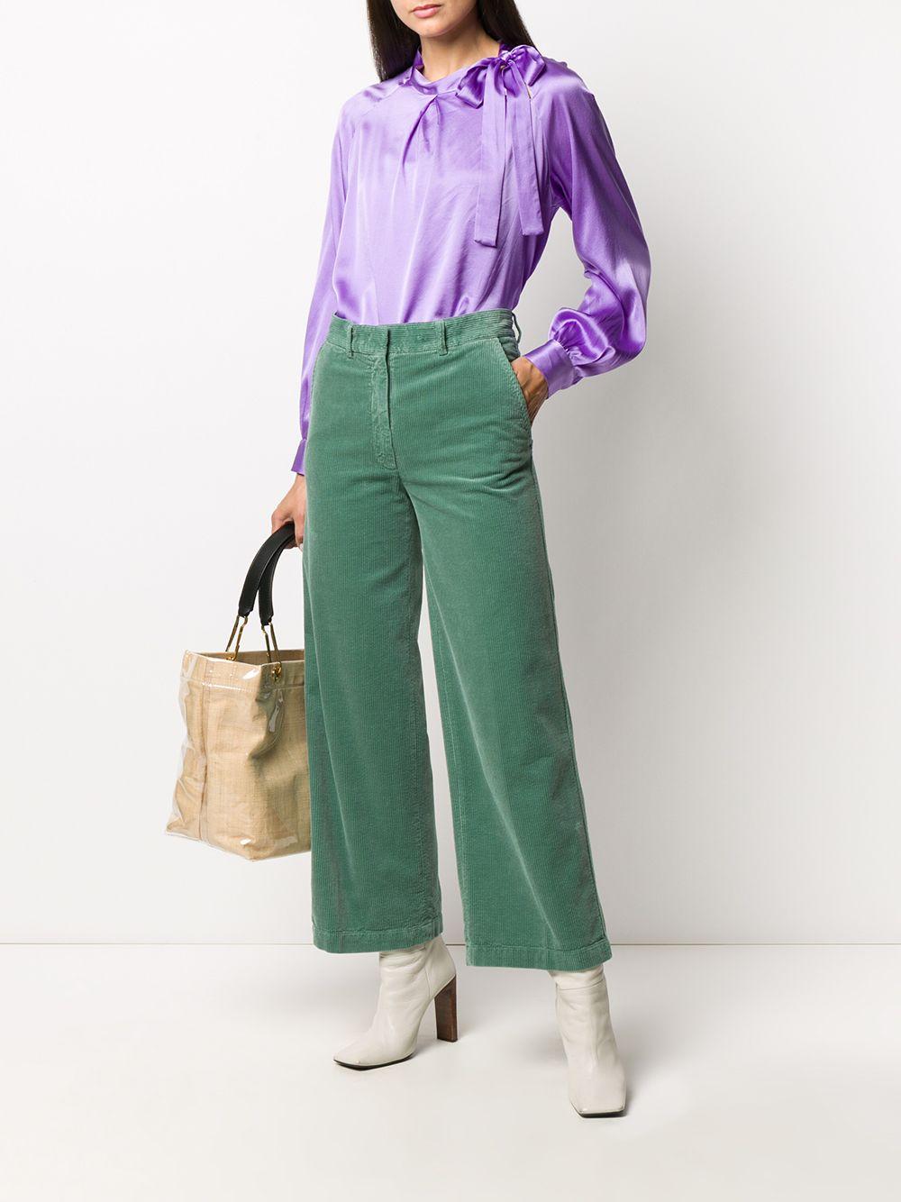 Blusa viola in raso di seta elasticizzata con fiocco ALTEA | Camicie | 206450385