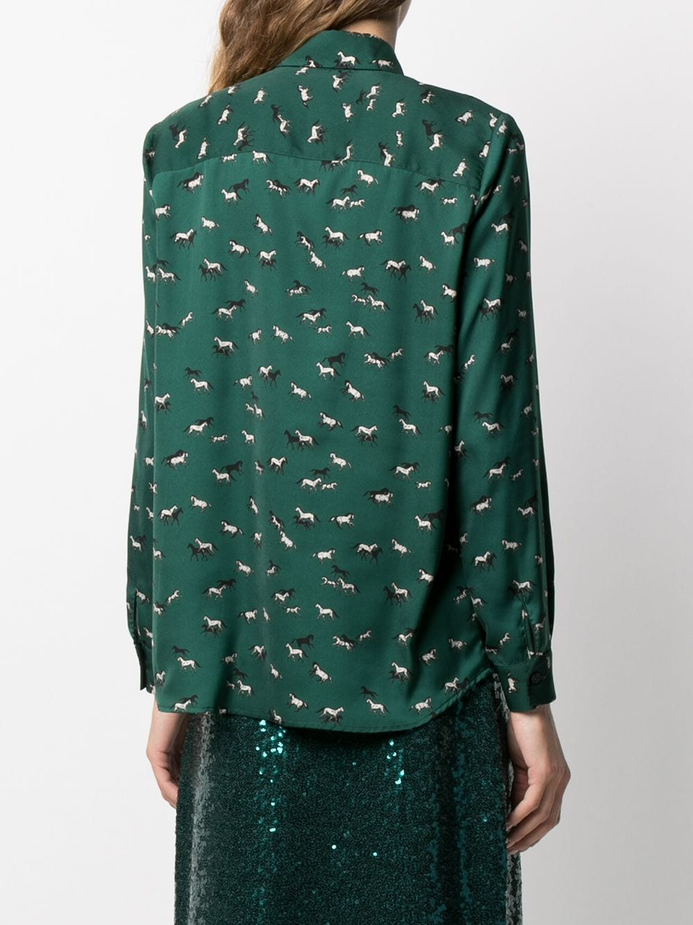 Green horse-print shirt featuring horse print and ruffled detailing ALTEA |  | 206462543