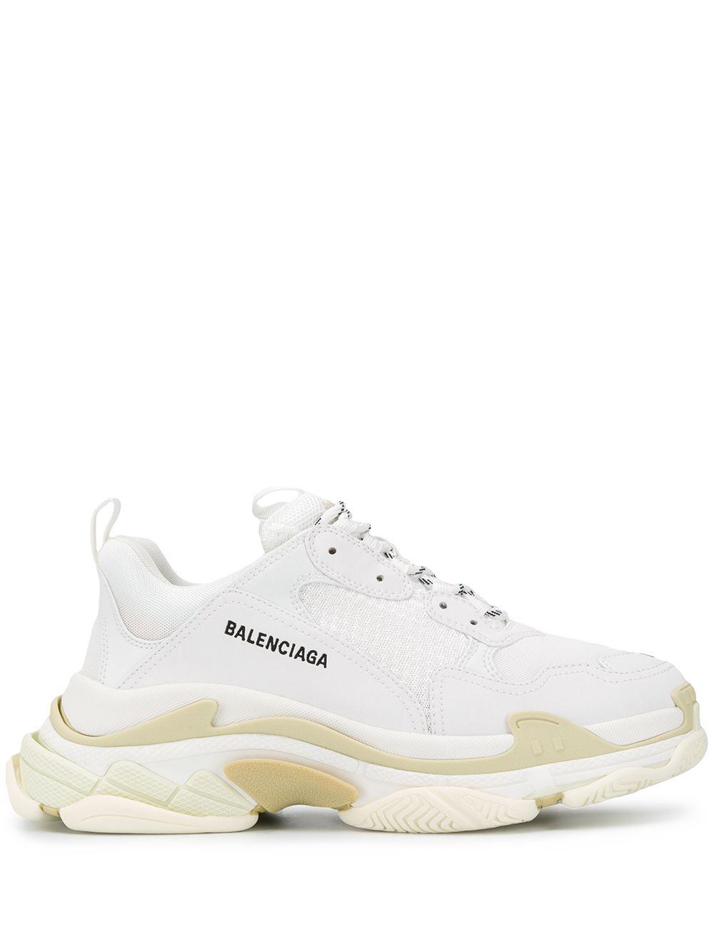 sneakers basse Triple S in pelle bianca con pannelli in rete e logo Balenciaga nero ricamato BALENCIAGA   Sneakers   534217-W2CA19000
