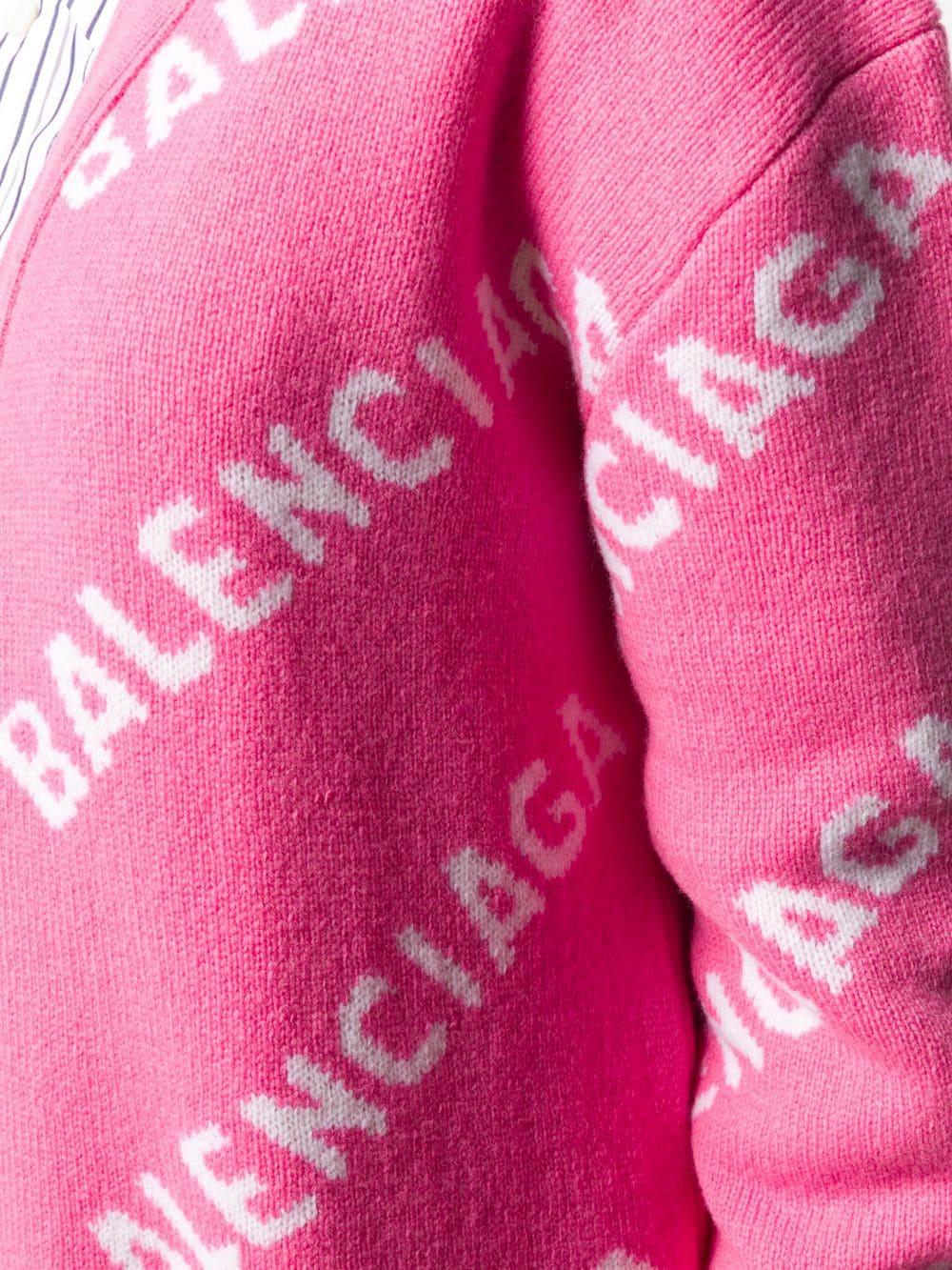 cardigan rosa oversize in maglia di lana con logo Balenciaga bianco all over BALENCIAGA   Maglieria Moda   620984-T15675621