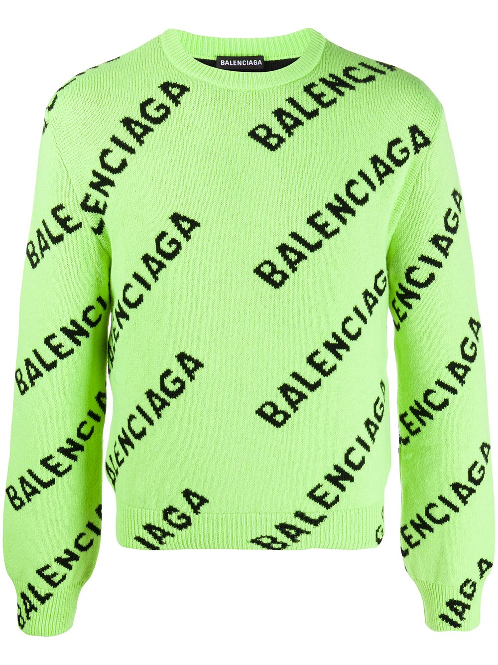 Neon green and black wool blend Balenciaga lettering logo intarsia jumper  BALENCIAGA |  | 621019-T15673532