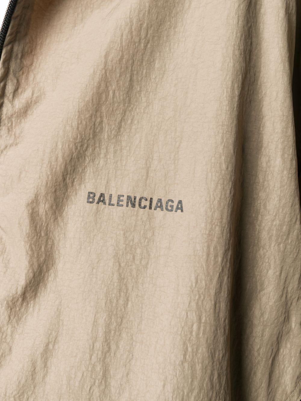 Beige and black cotton-modal blend panelled oversized zipped jacket featuring Balenciaga logo BALENCIAGA      625510-TDO139577