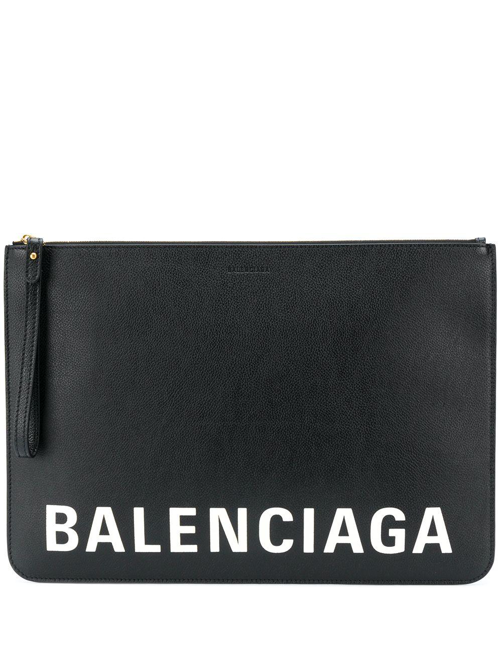 Black calfskin leather  Balenciaga logo-print clutch bag BALENCIAGA      630626-1IZKM1090