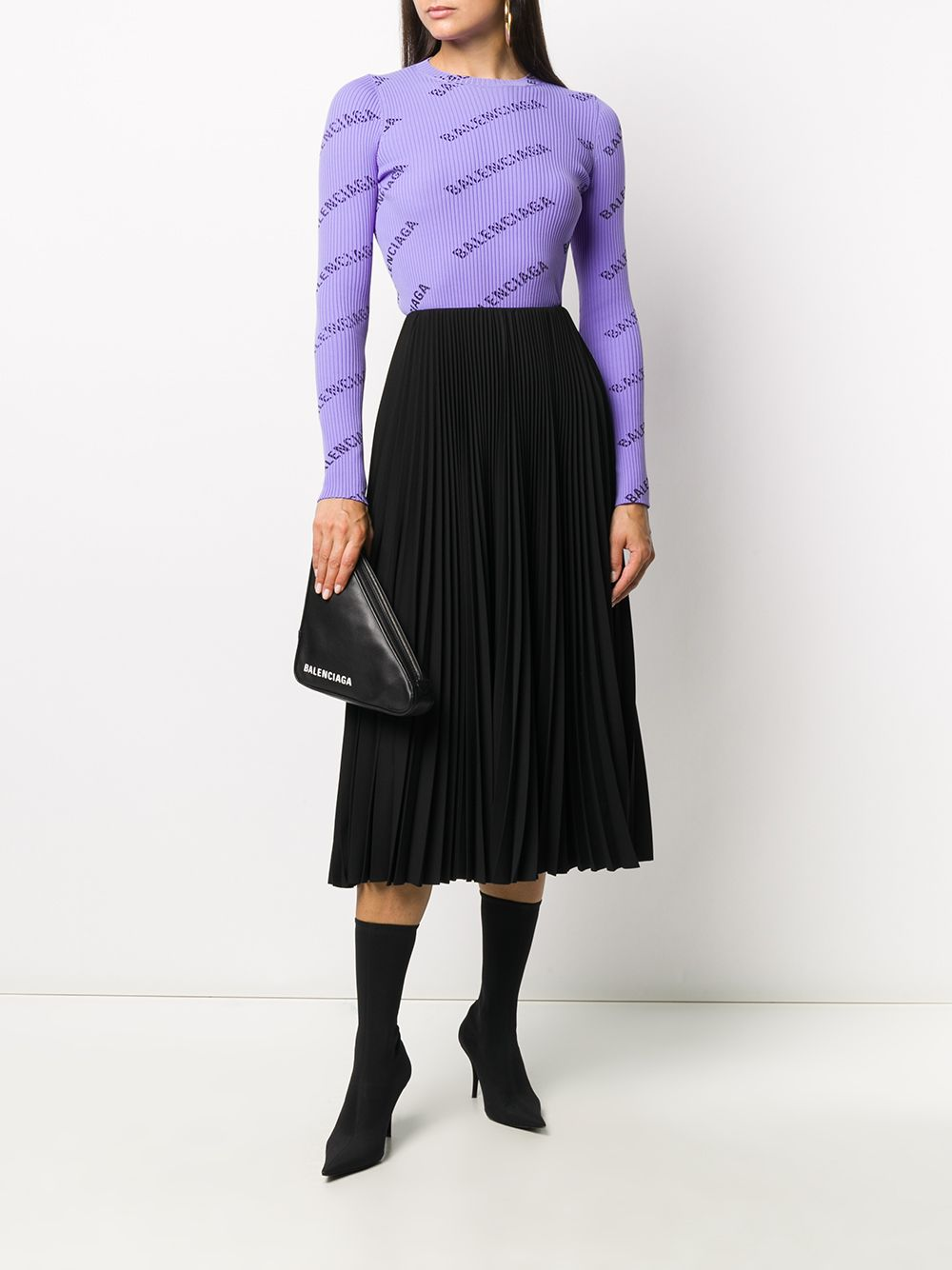Black pleated midi skirt featuring pleat detailing BALENCIAGA |  | 643760-TJO461000
