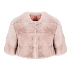 Pink mink fur crop top jacket with 3/4 sleeves and mandarin collar BLANCHA |  | 20013/100S-1MAKE UP