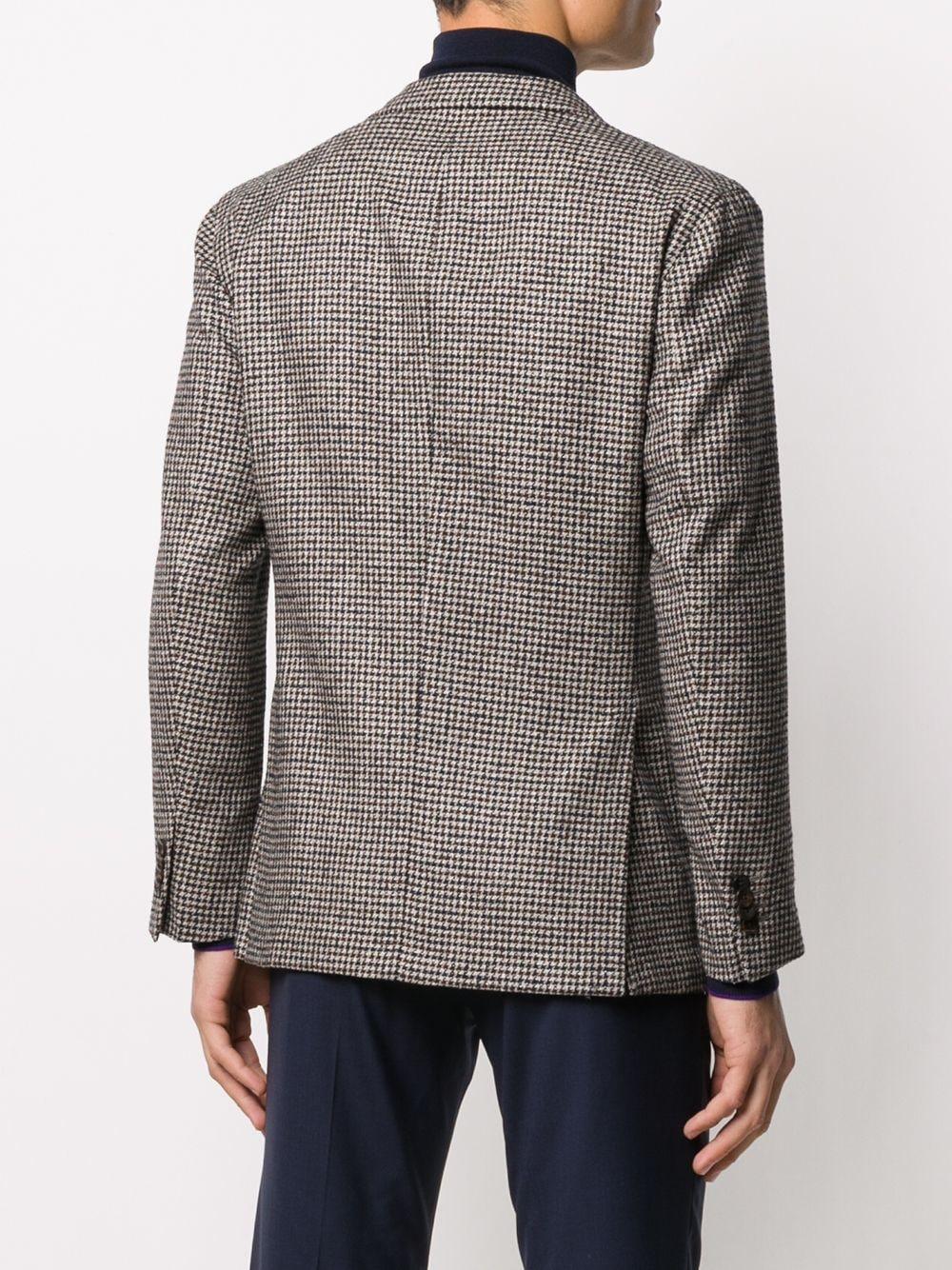 Giacca marrone in lana vergine, cashmere e seta con stampa pied de poule BOGLIOLI | Giacche | BSC036-0291291