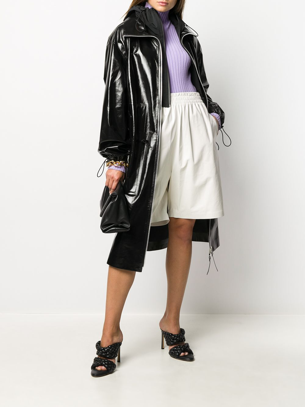 Black lambskin high-shine hooded coat  BOTTEGA VENETA      633444-VKLC01000