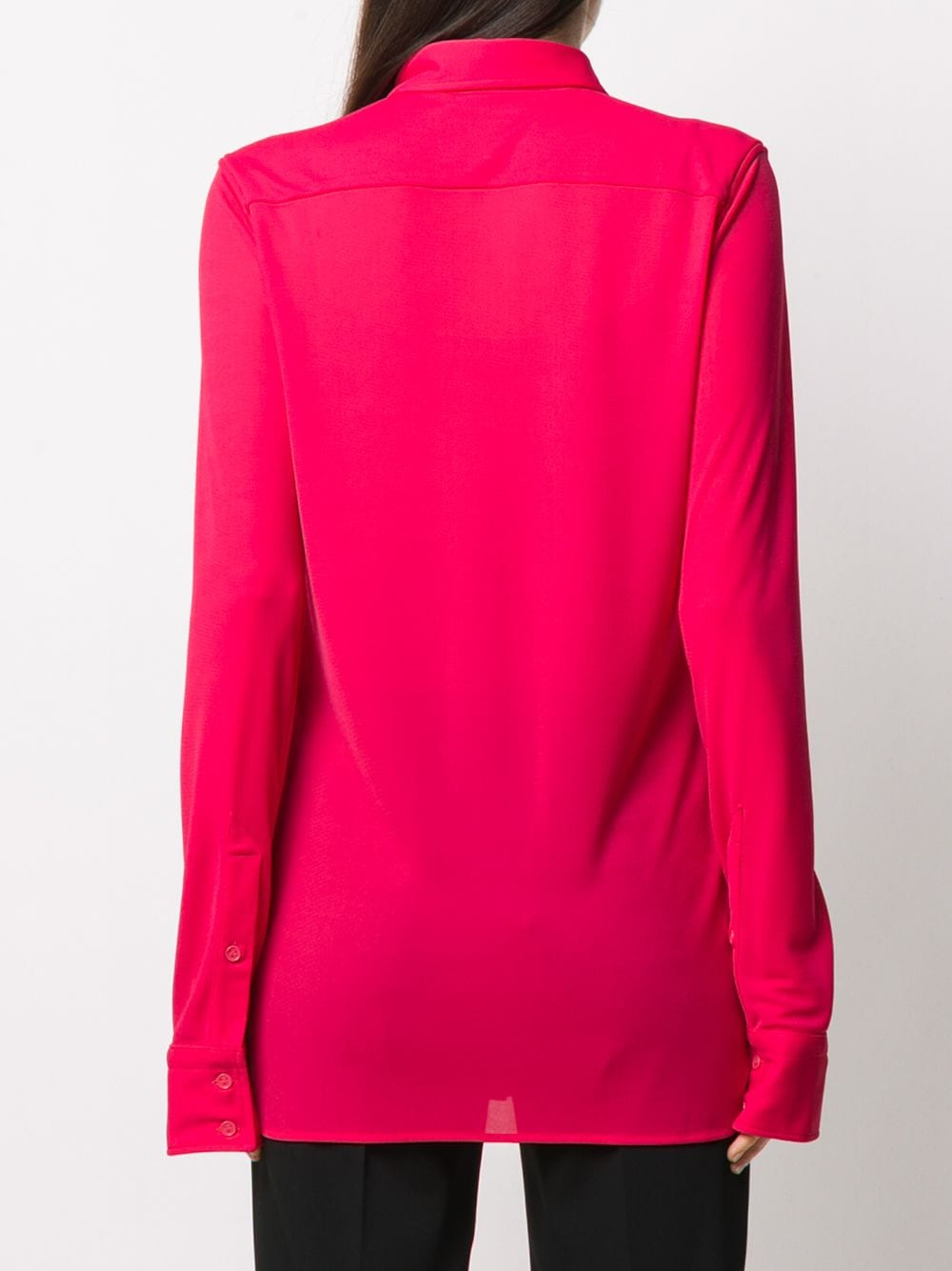 Lollipop pink semi-sheer button-up shirt featuring  spread collar BOTTEGA VENETA |  | 636591-V02I05521