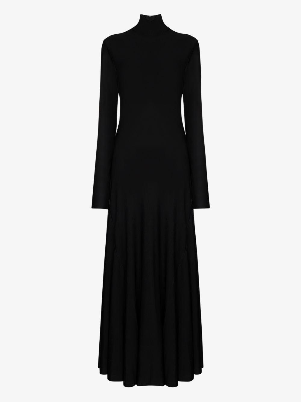 Black viscose high neck fluid dress featuring rear zip fastening BOTTEGA VENETA      640079-VKI601000