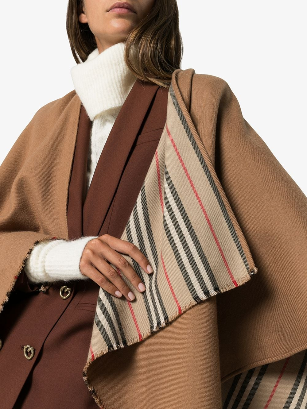 brown wool Icon poncho featuring frayed edges BURBERRY |  | 8015654-ST ICON STRIPEA7139