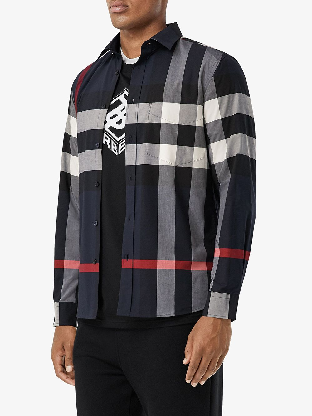 blue slim-fit shirt in stretch cotton poplin  BURBERRY |  | 8018111-SOMERTONA1960