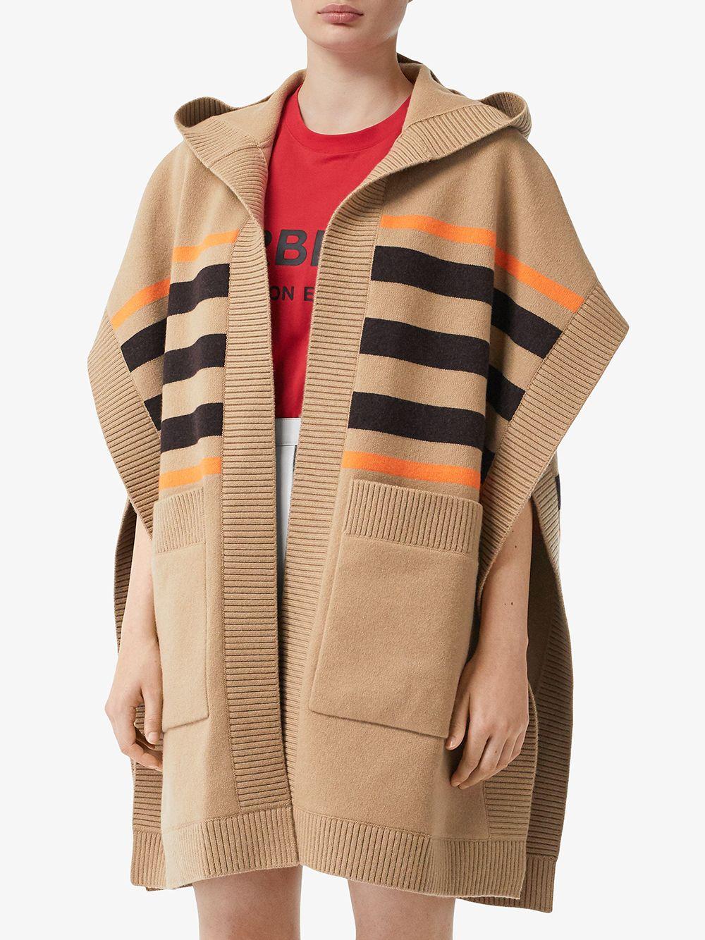 Mantella in lana e cachemere marrone con cappuccio e tasconi anteriori BURBERRY | Mantella | 8018233-ST TB MONO STRPA7026