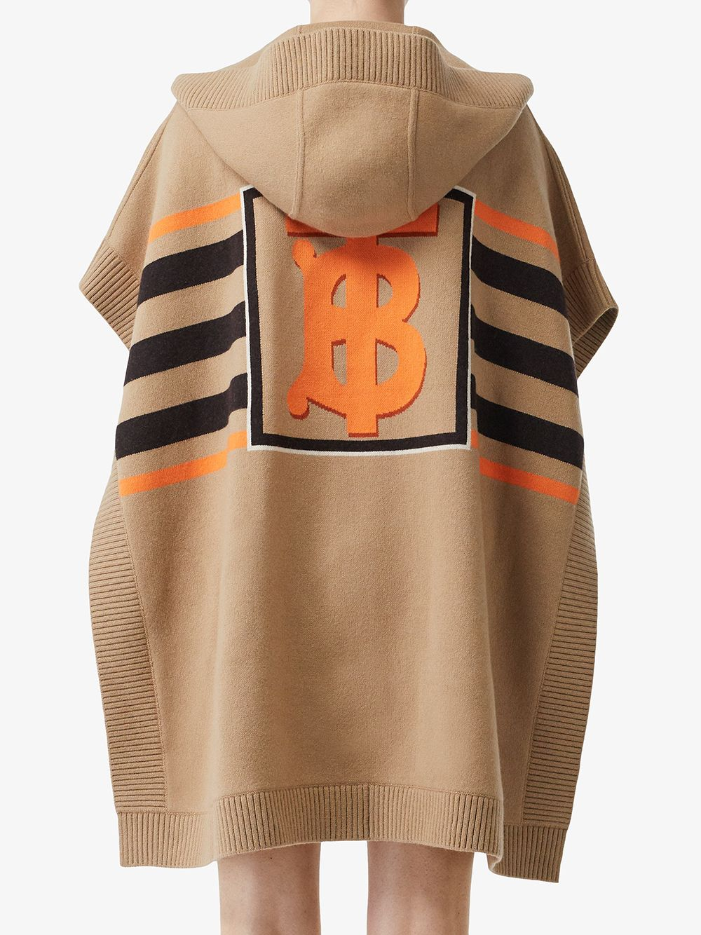 Brown wool and cachemere cape with hood and front pockets BURBERRY |  | 8018233-ST TB MONO STRPA7026