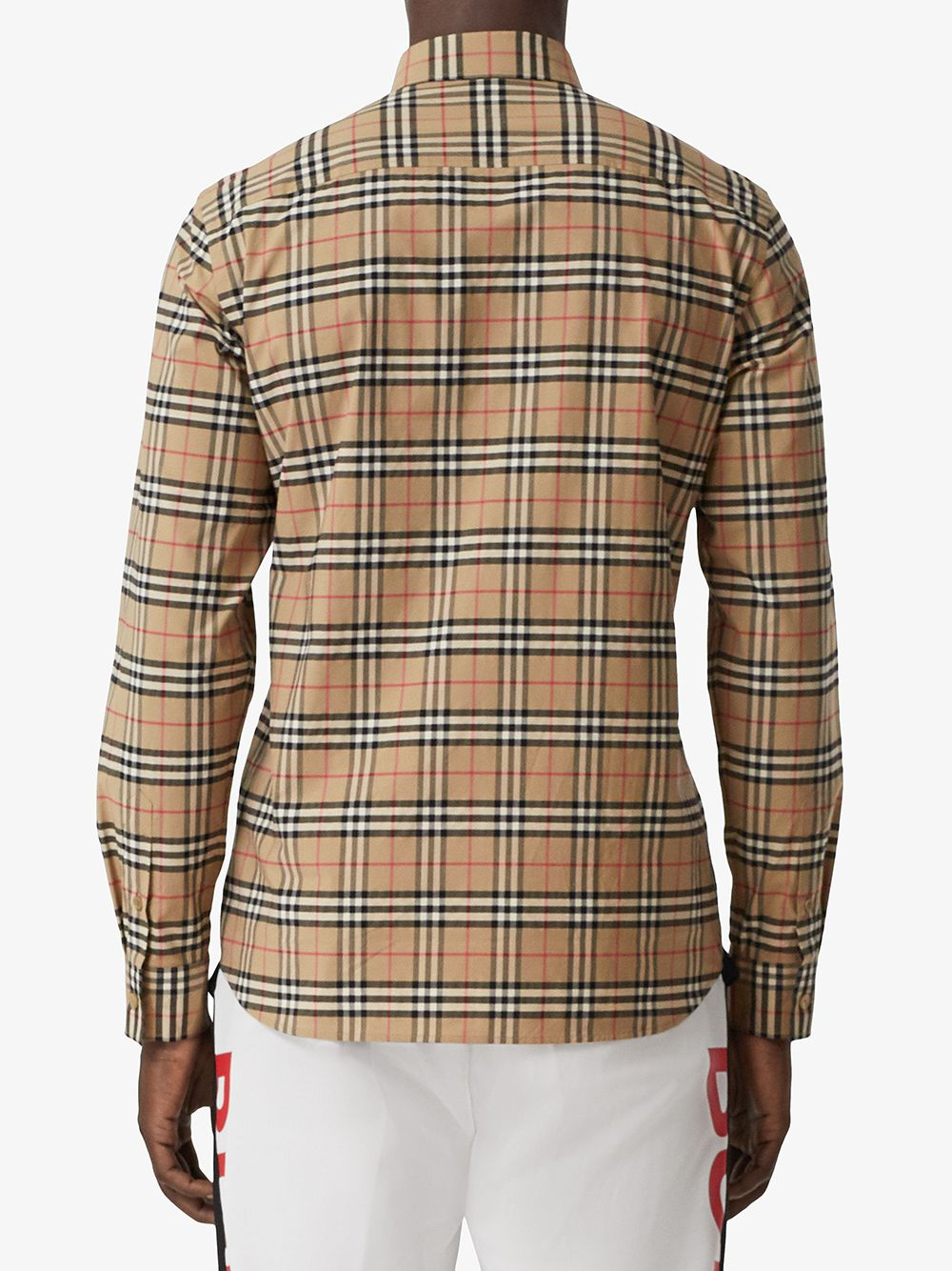 stretch cotton small scale Burberry Check print shirt featuring classic collar BURBERRY |  | 8020966-SIMPSONA7028