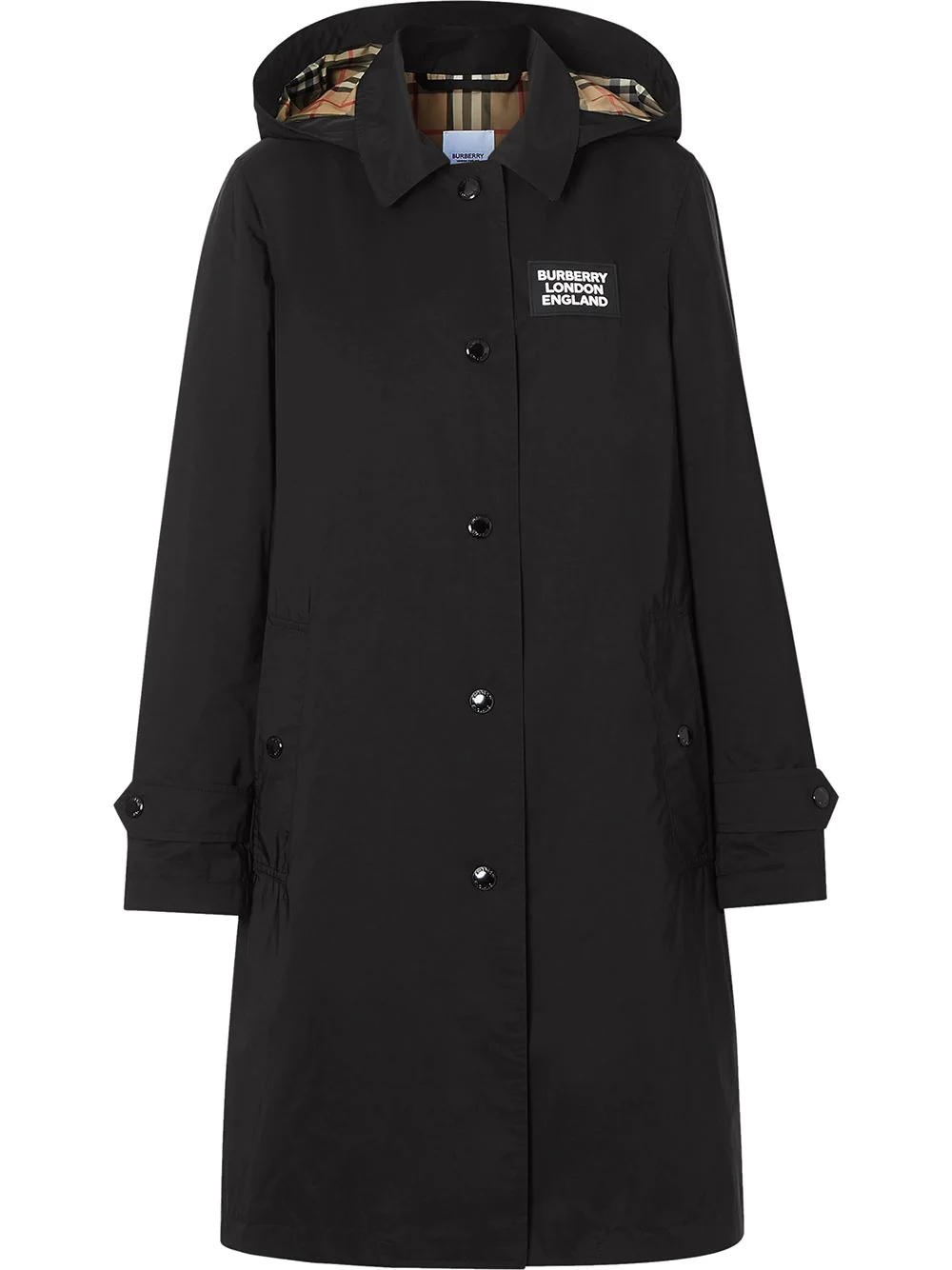 straight cut black coat featuring a detachable hood featuring classic collar BURBERRY |  | 8022731-OXCLOSEA1189