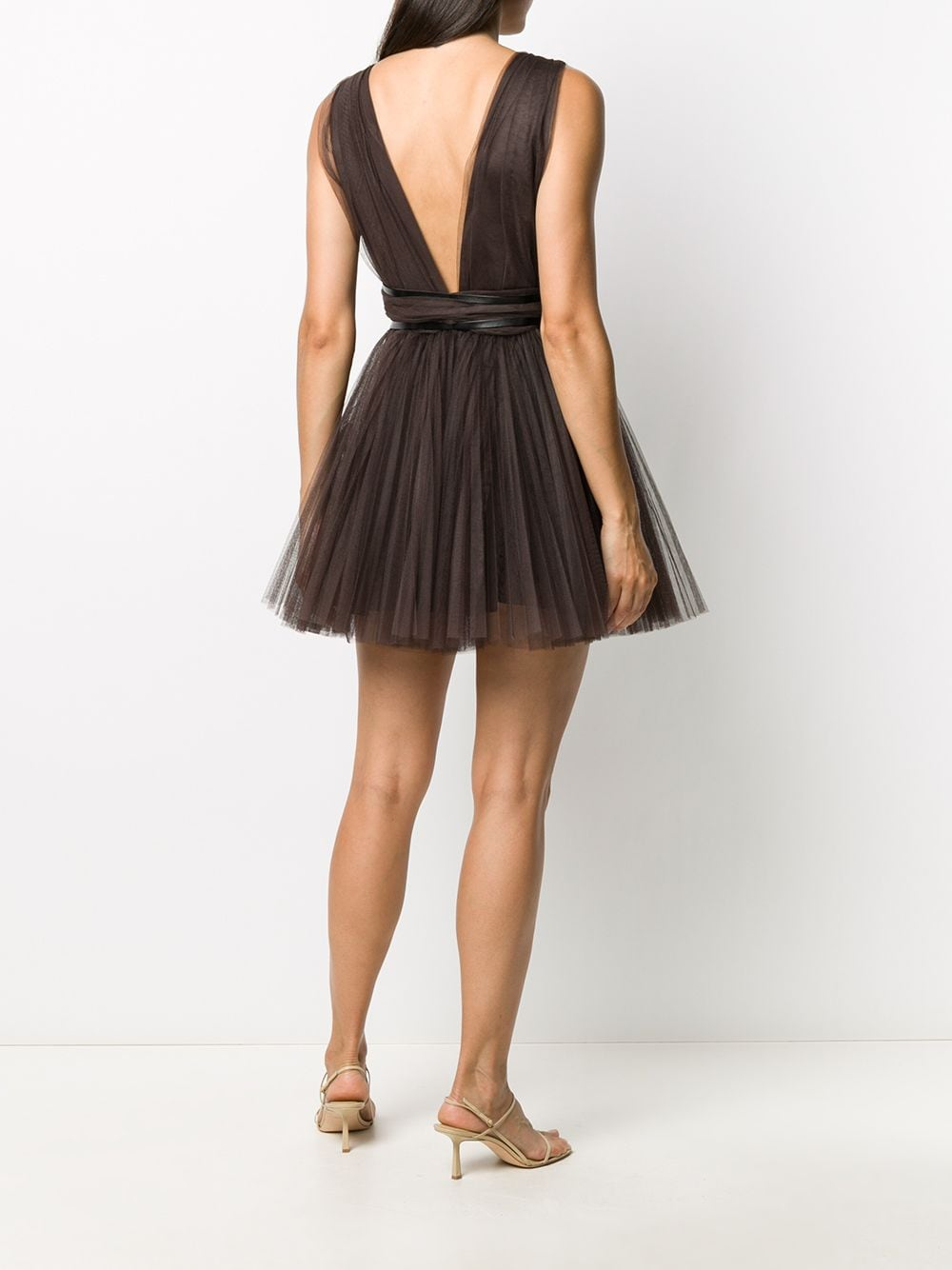 Dark brown mini dress featuring mesh panelling BROGNANO |  | 29BR1A11-20475130