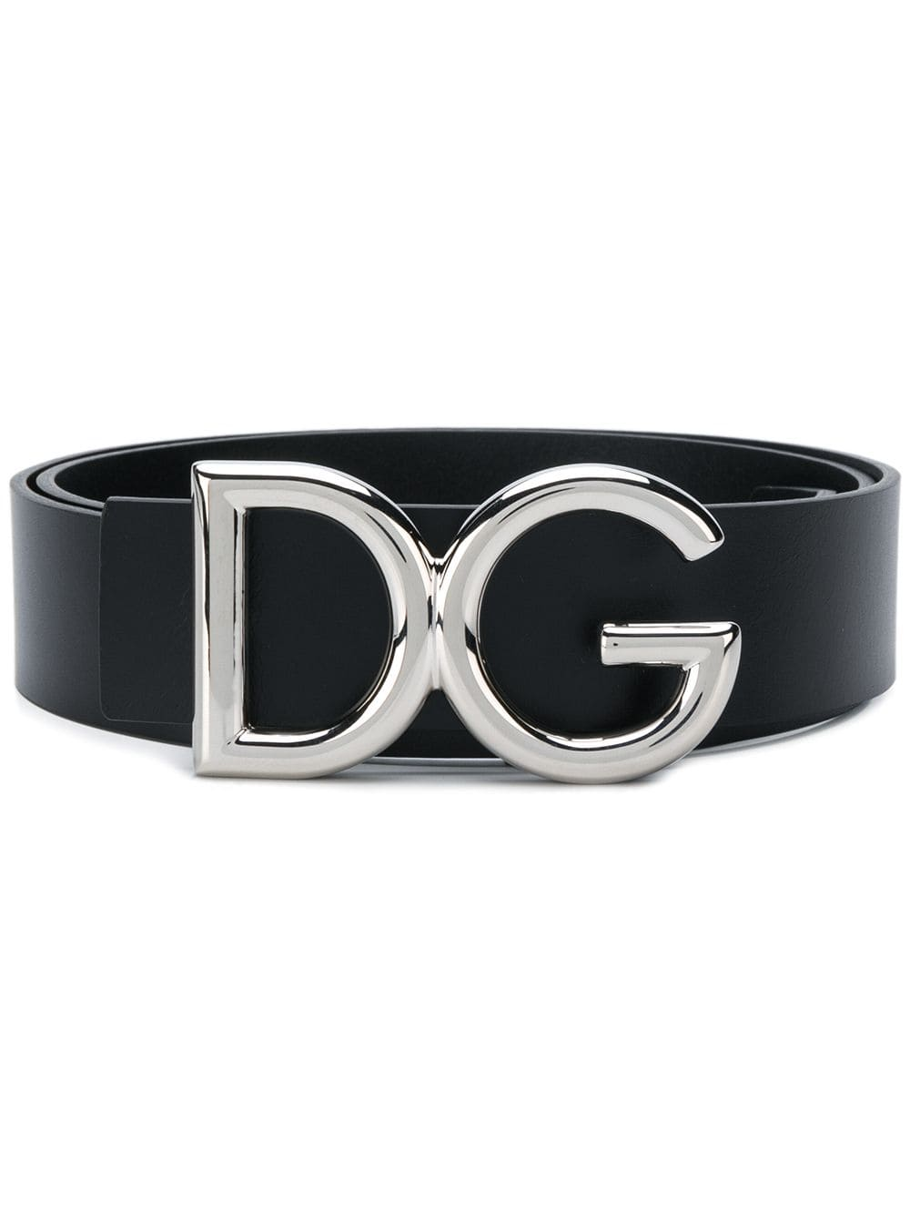 black calf skin leather belt with palladium silver DG logo DOLCE & GABBANA |  | BC4248-AC49387653