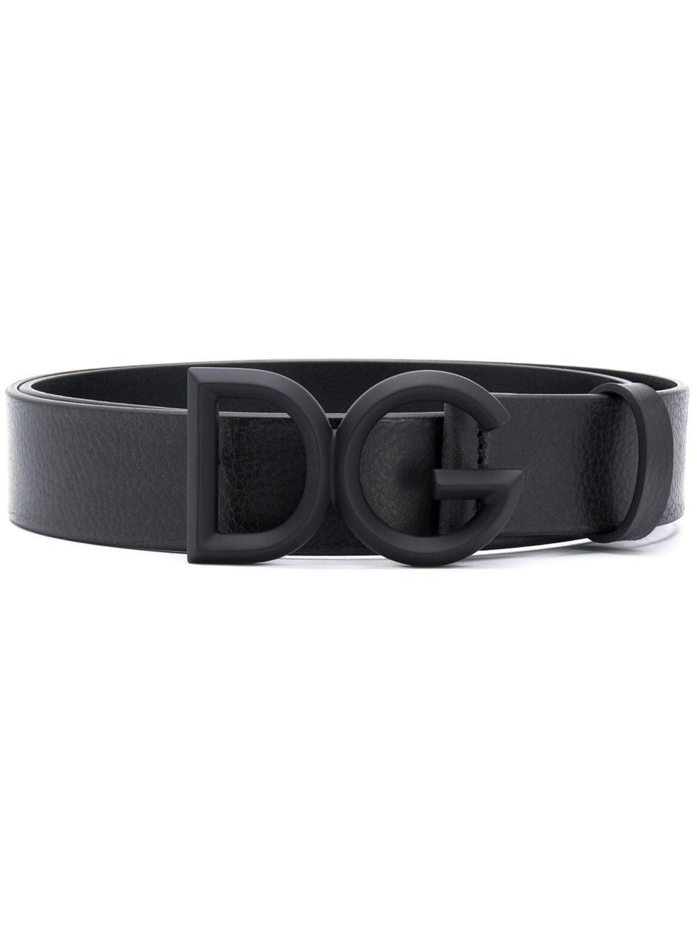Cintura 3,5cm in pelle di vitello nera con fibbia scura DG frontale DOLCE & GABBANA | Cinture | BC4465-AV4808H567