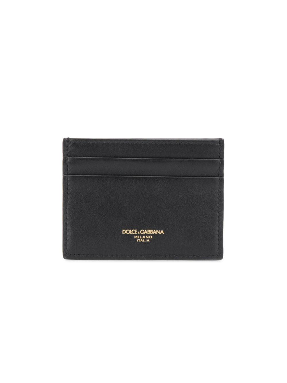 porta carte di credito in pelle di vitello nero con logo dorato DOLCE & GABBANA | Portafogli | BP0330-AZ60752
