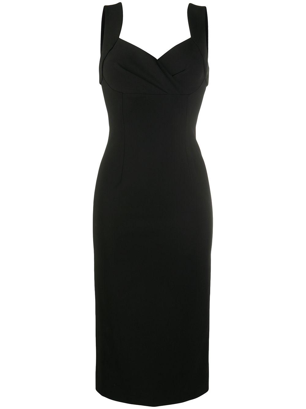 abito longuette nero in viscosa con drappeggio sul seno DOLCE & GABBANA | Abiti | F6J4QT-FUGKFN0000