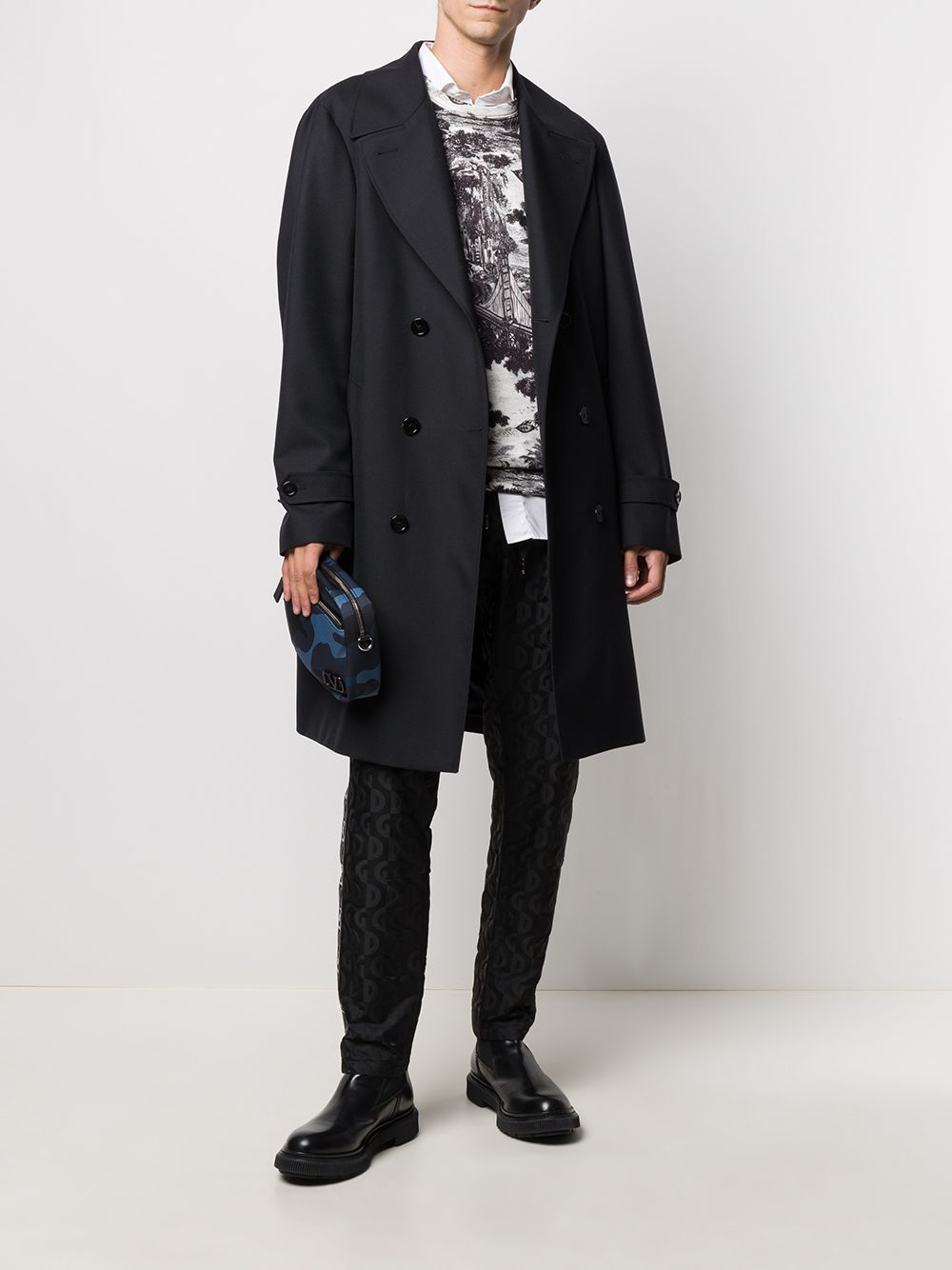 Black wool-blend belted trench coat featuring notched lapels DOLCE & GABBANA |  | G021CT-HUMJMN0000
