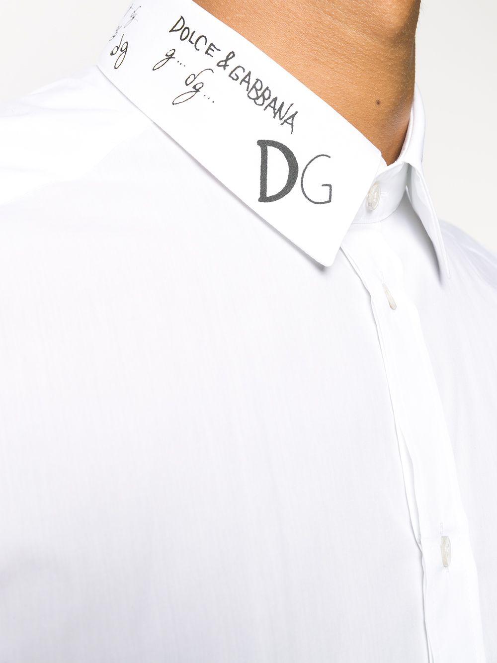 white cotton button-up shirt with Dolce & Gabbana logo print on the neckline DOLCE & GABBANA |  | G5EJ0T-GEO46W0800