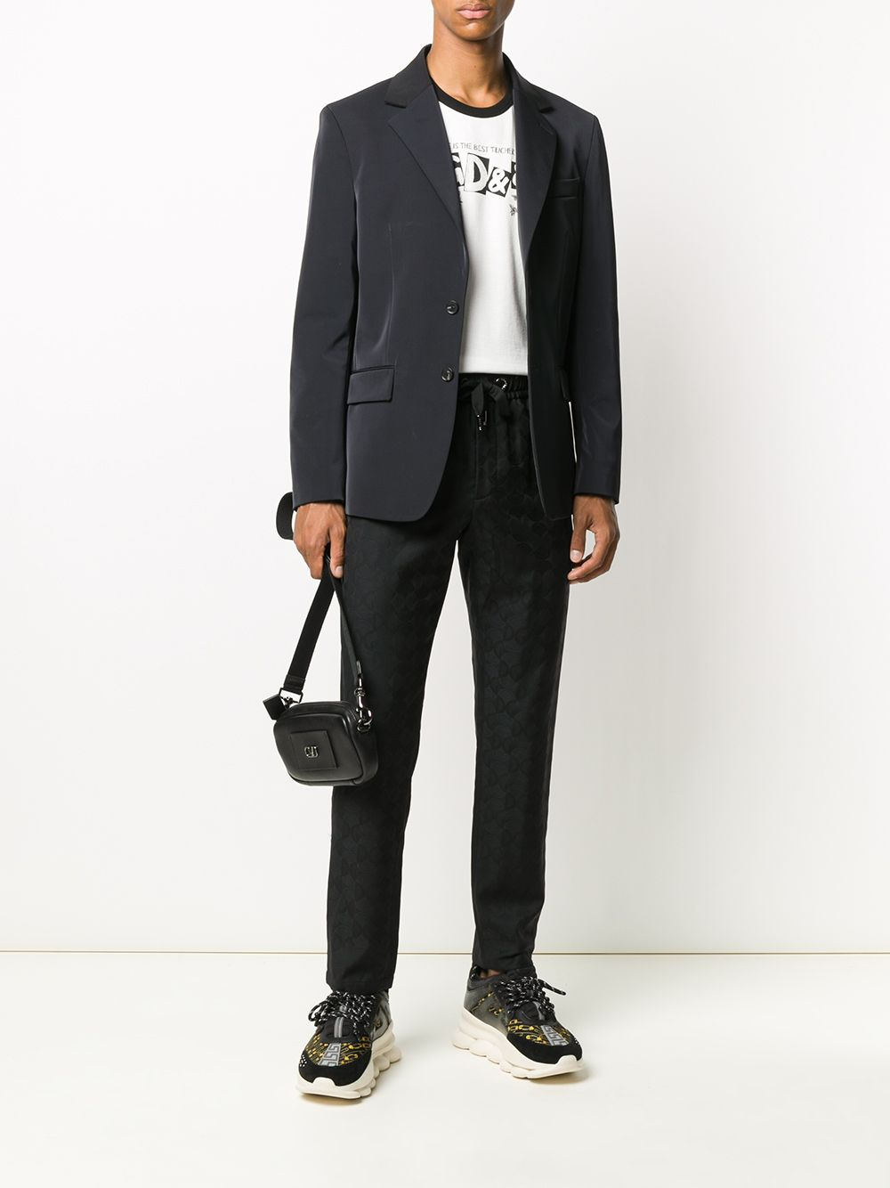 t.shirt bianca in cotone con stampa multilogo nera D&G DOLCE & GABBANA | T-shirt | G8JX7T-FI733HA2GT