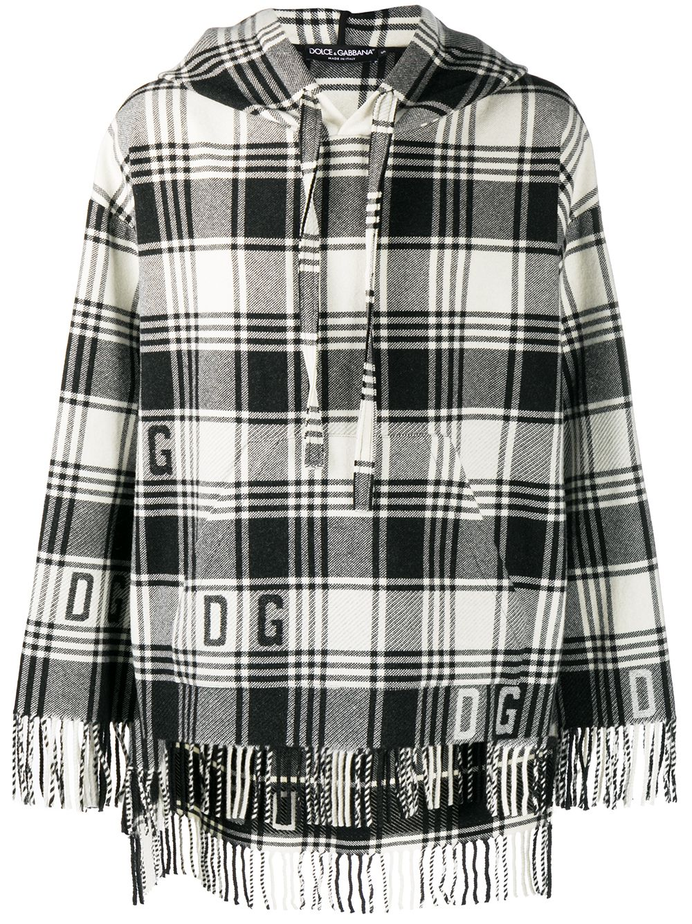 Black and white wool blend fringed checked knitted poncho  DOLCE & GABBANA |  | G9TA9T-HJMLGS8100