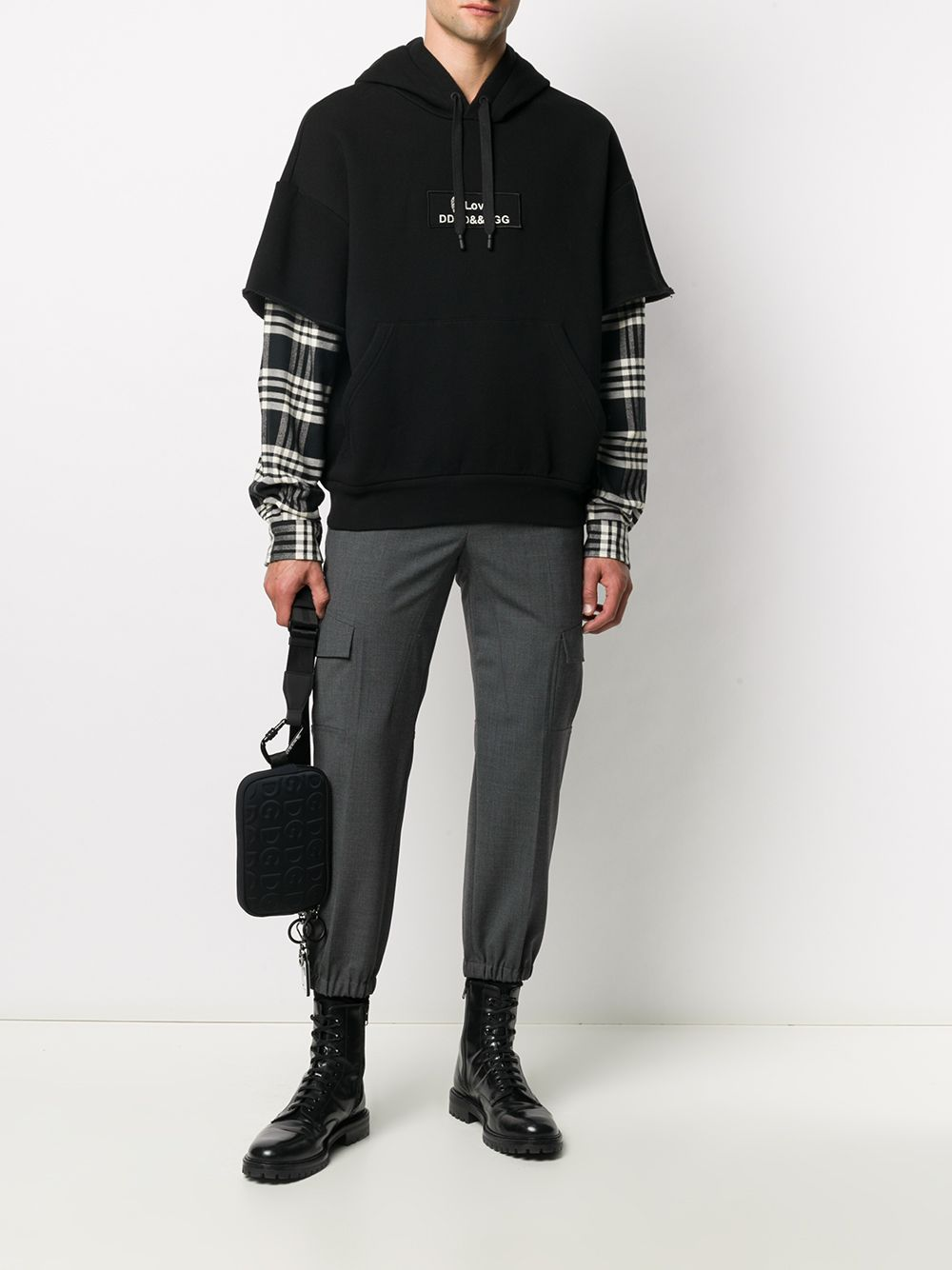 Black cotton blend layered-effect hoodie with long plaid sleeves DOLCE & GABBANA      G9TE7Z-FU77GS9000