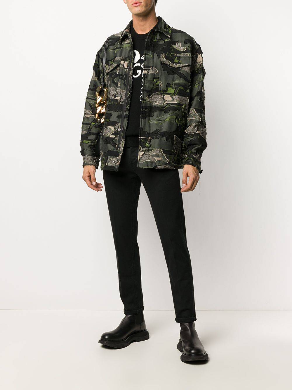 Black and white virgin wool-cashmere blend Dolce & Gabbana logo doodle jumper   DOLCE & GABBANA |  | GXA63Z-JAM3DS9000