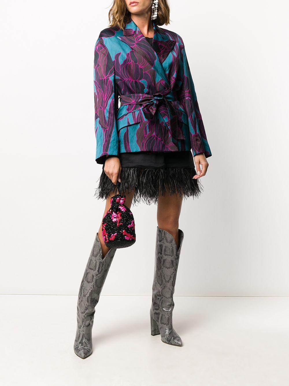 Blazer Bouncy in misto cotone blu petrolio e viola con cintura e stampa floreale DRIES VAN NOTEN | Giacche | BOUNCY BIS-1353508