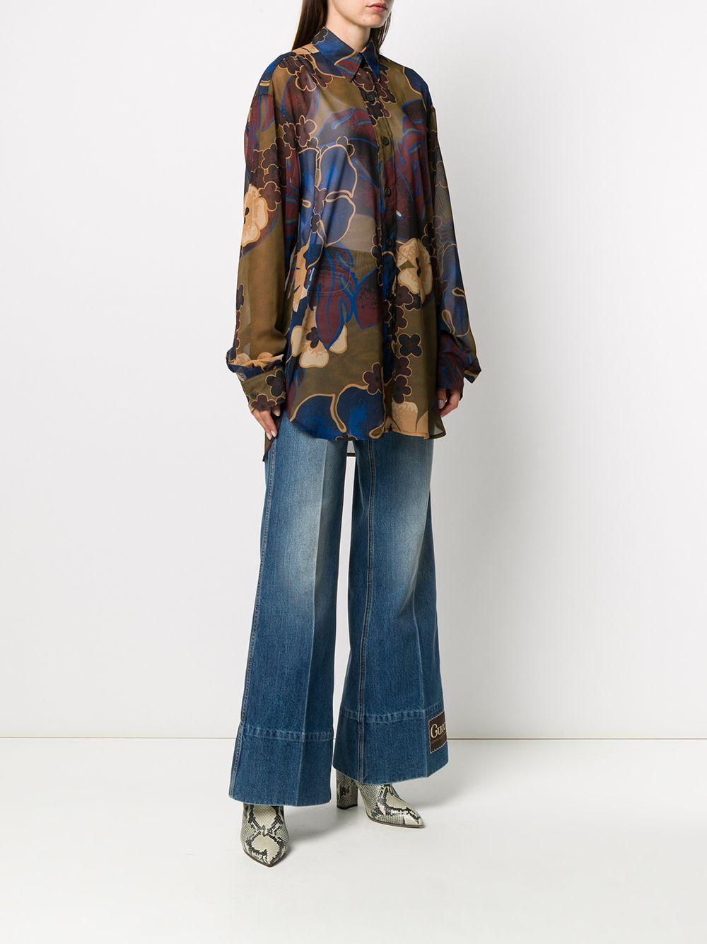 Camicia trasparente marrone multicolore con stampa floreale Carwy DRIES VAN NOTEN | Camicie | CARWY BIS-1062977