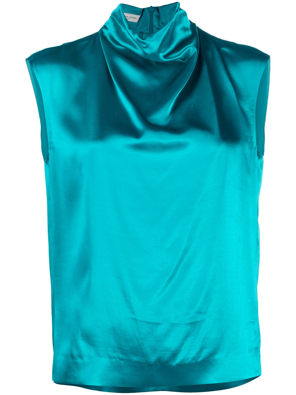 Turquoise blue Chiala high-neck satin blouse  DRIES VAN NOTEN |  | CHIALA-1042503