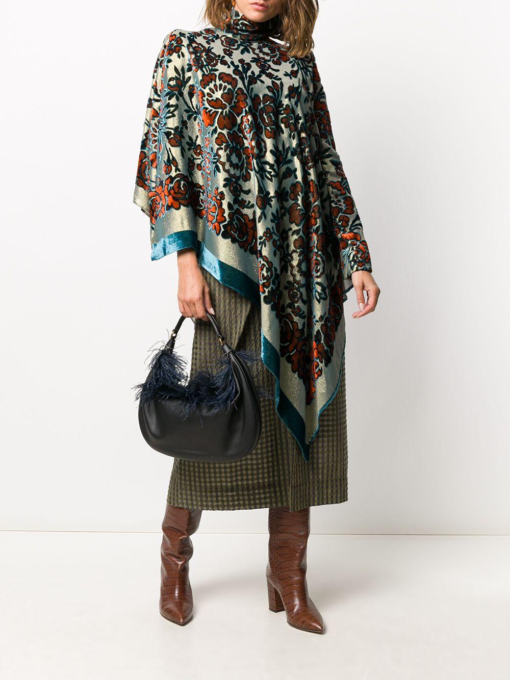 Blusa asimmetrica con stampa floreale Cray in misto seta multicolore color oro con finitura metallizzata DRIES VAN NOTEN | Maglieria | CRAY-1139954
