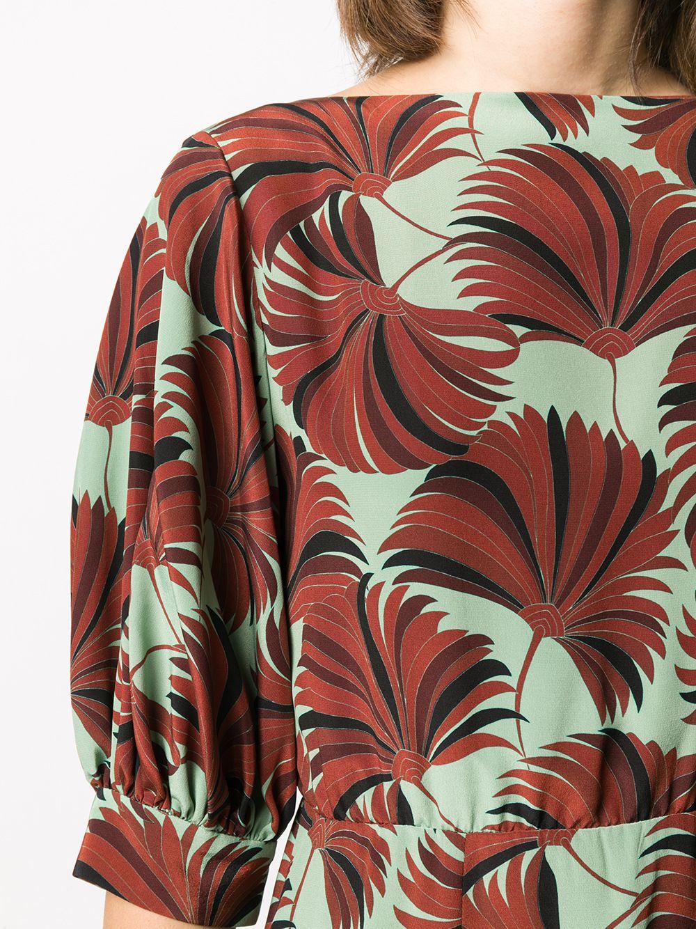 Abito midi svasato Duzen in seta verde menta e marrone con stampa floreale a fantasia DRIES VAN NOTEN | Abiti | DUZEN BIS-1200608