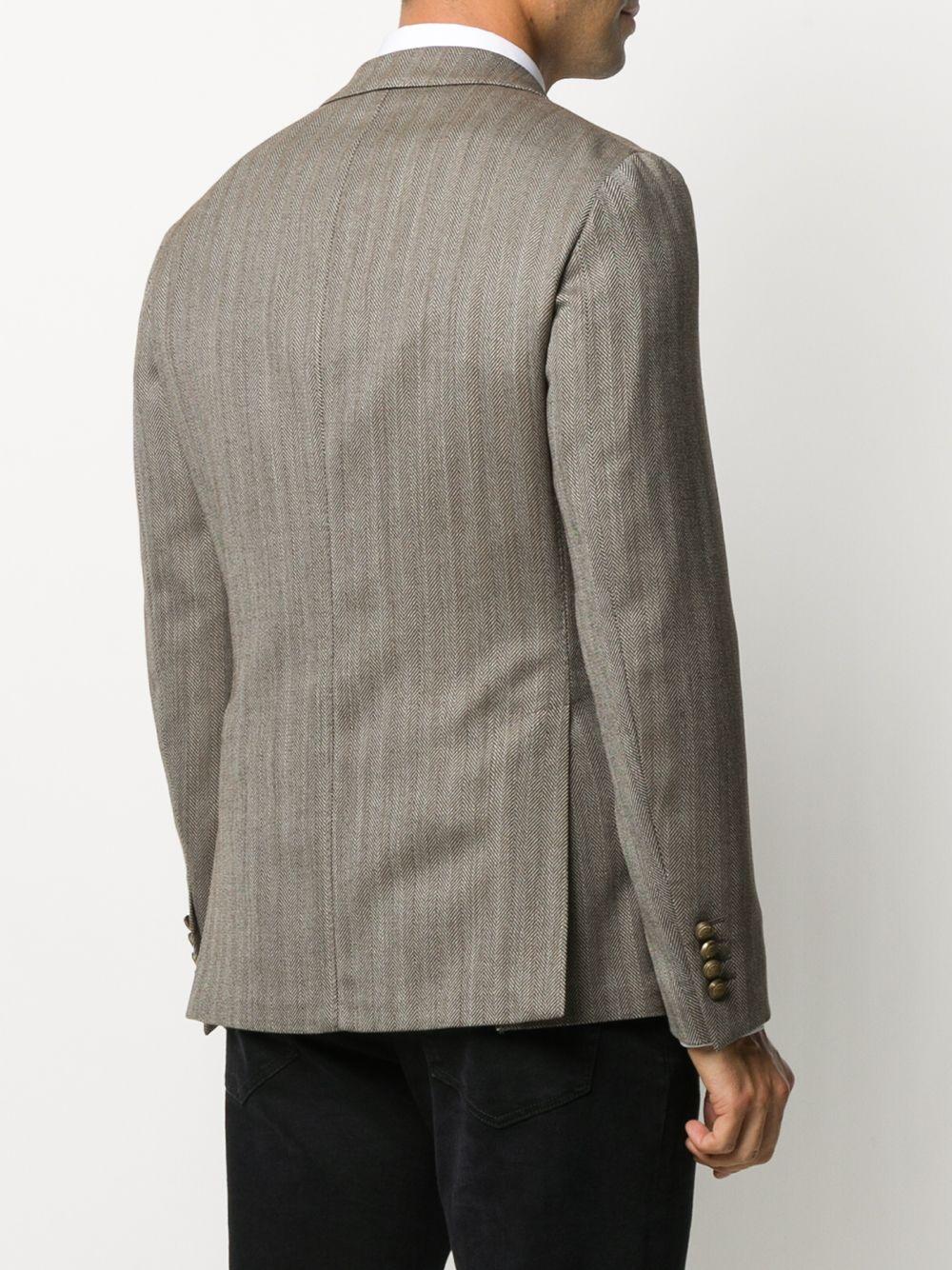 Blazer doppiopetto grigio in misto lana a spina di pesce con revers a lancia ELEVENTY | Giacche | B70GIAA06-TES0B03505