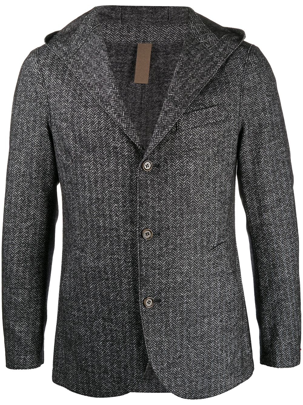 Blue wool-blend hooded knit blazer  ELEVENTY |  | B70GIAB01-TES0B11511