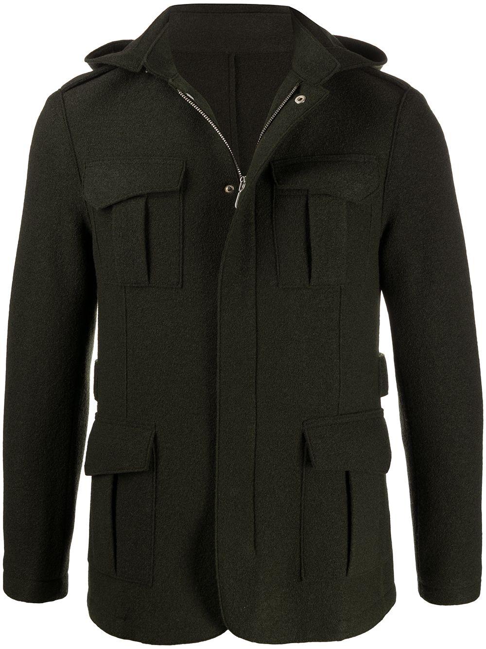 Giacca utility pocket con zip in lana vergine verde militare ELEVENTY | Giacche | B70GIAB02-CAS2400420