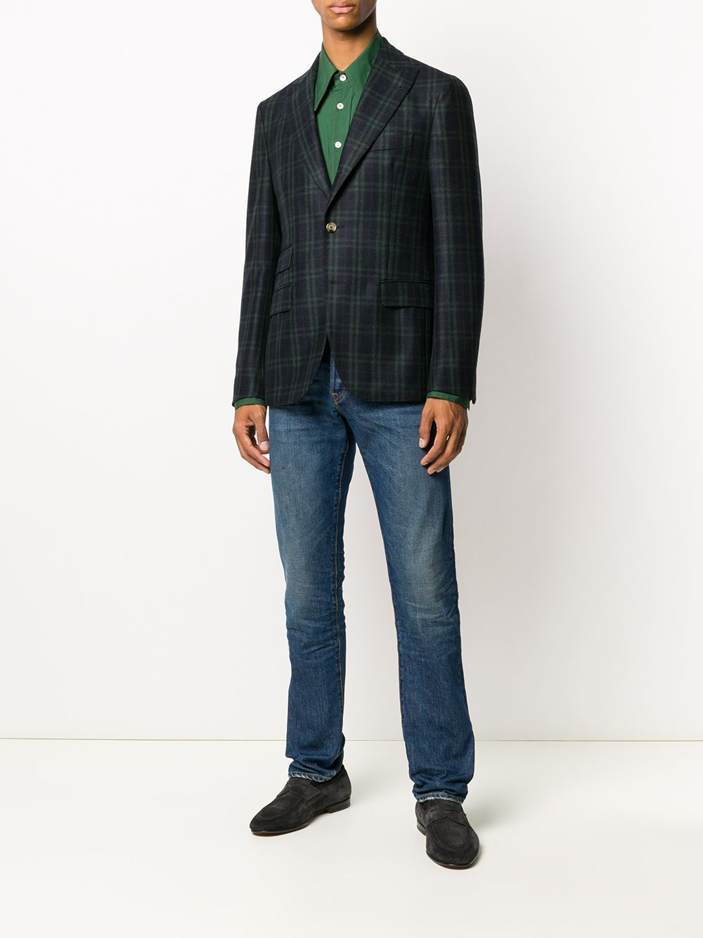 Blazer a quadri scozzesi in lana blu e verde con revers a lancia ELEVENTY | Giacche | B70GIAB04-TES0B03111