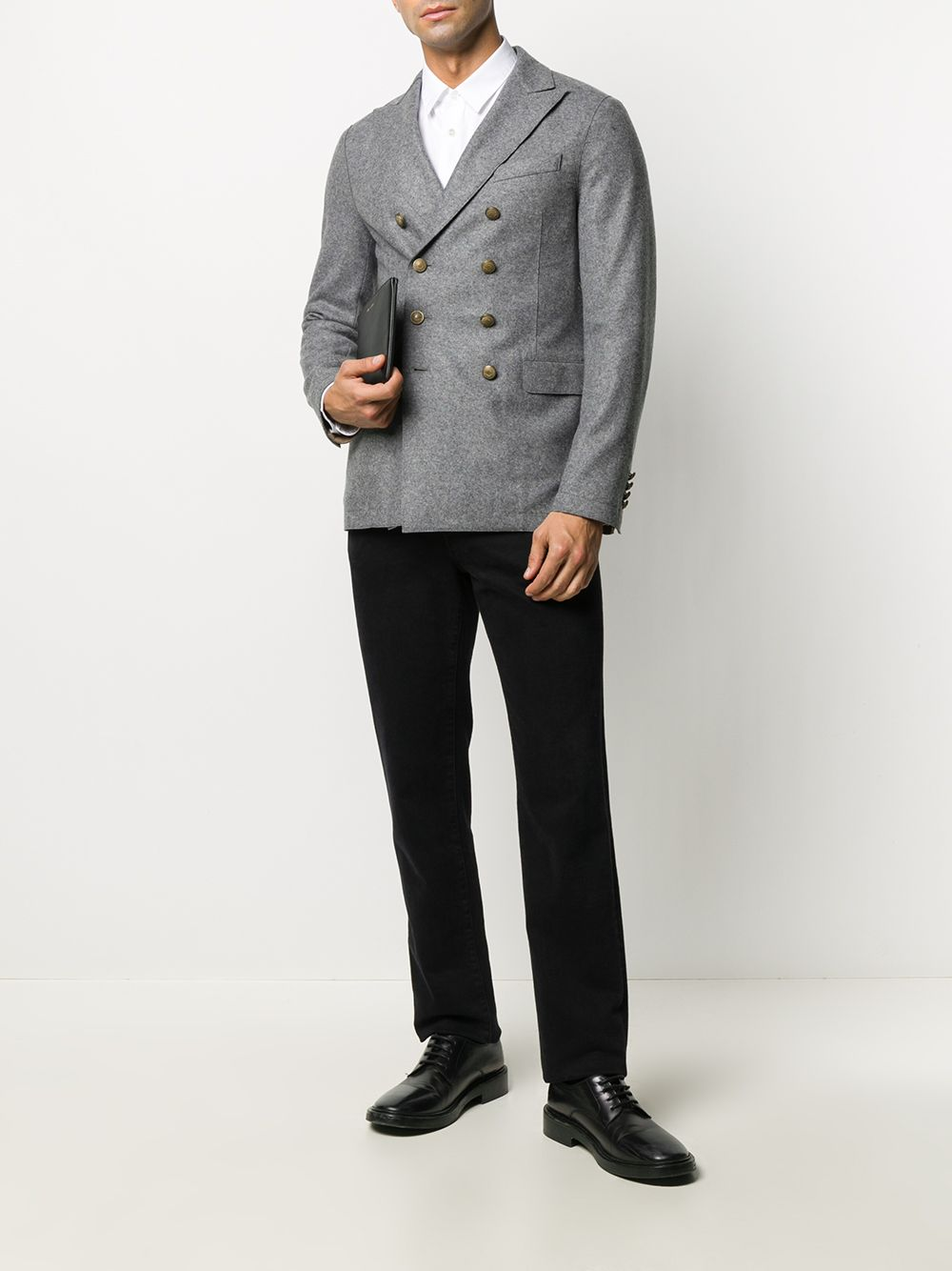 Grey double-breasted blazer featuring embossed gold-tone buttons ELEVENTY |  | B70GIAB08-JAC2401815